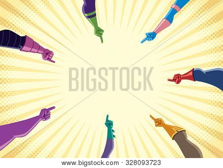 Conceptual Flat Design Illustration With Superhero Hands Pointing To The Center Of A Circle, With Co