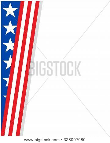 American Corner Frame With Usa Flag Symbols And Copy Space For Your Text, For Posters, Cards, Covers
