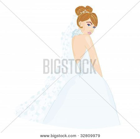 Beautiful bride in white dress card
