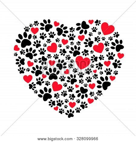 Dog Footprints In Heart Shape Illustration. Vector Bright Heart With Dog Paw Prints Symbol. Heart Sh