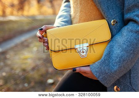 Handbag. Young Woman Holding Stylish Purse And Wearing Coat. Autumn Female Clothes And Accessories.