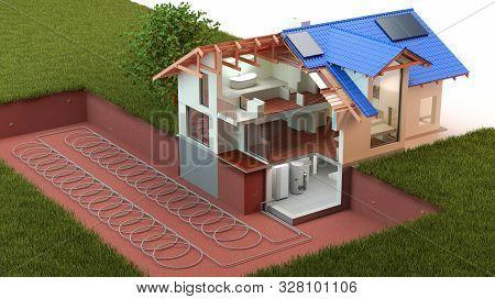 Heat Pump, Ground Source In 3d Illustration