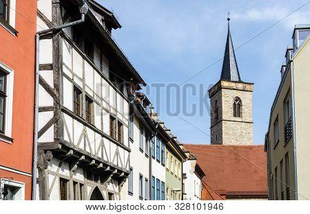 Half-timbered Houses In Erfurt With  Kürschnergasse Agidienkirche