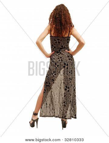 Slender Woman Through The Transparent Dress.