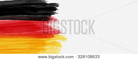 Abstract Painted Watercolor Splashes Flag Of Germany Bundesflagge Und Handelsflagge. Background Conc
