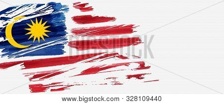 Background With Grunge Painted Flag Of Malaysia. Hari Merdeka Holiday. Template For Poster, Banner,