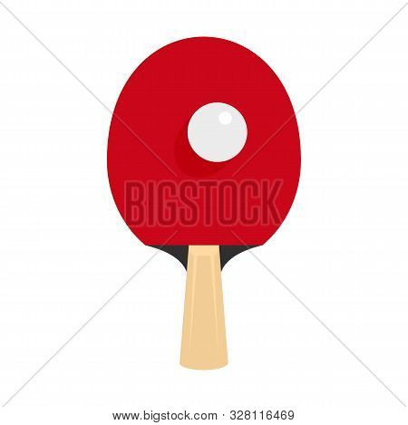Ping Pong Racket Icon. Flat Illustration Of Ping Pong Racket Vector Icon For Web Design