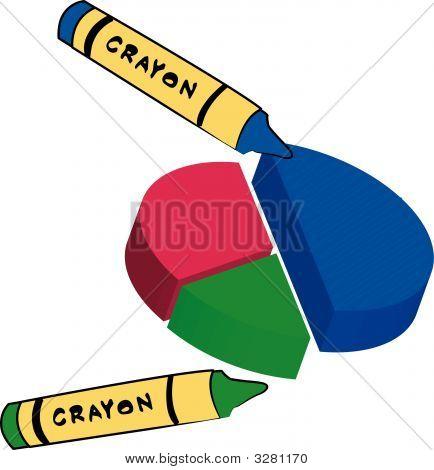 Crayon Coloring Circle Graph Blue N Green