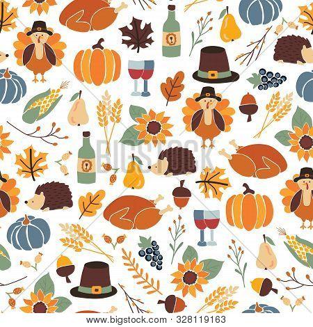 Seamless Thanksgiving Day Vector Pattern With Pumpkins, Hats, Sunflowers, Turkey, Hedgehog, Wine Bot