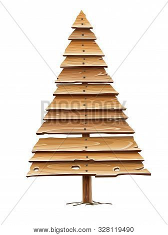 Christmas Firtree For Holiday Made Of Old Wooden Board Planks. Idea Design For Vintage Retro Hand-ma