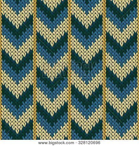 Handmade Downward Arrow Lines Knitting Texture Geometric Vector Seamless. Fair Isle Sweater Knitwear