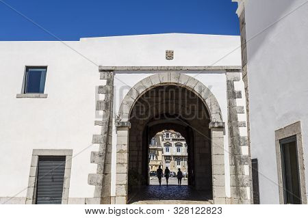 Cascais - August 14, 2019: Detail Of The Citadel Of Cascais Entrance Gate Seen From The Inside, In C