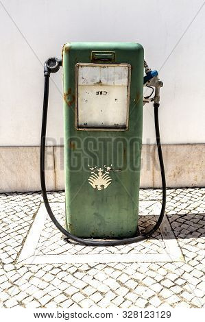 Cascais - August 14, 2019: Detail Of A Vintage Petrol Bower With Mechanical Counter, In The Citadel