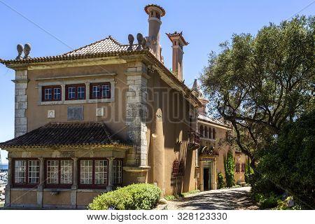 Cascais - August 14, 2019: Facade Of The House Of Saint Mary, Casa De Santa Maria, Once A Luxurious
