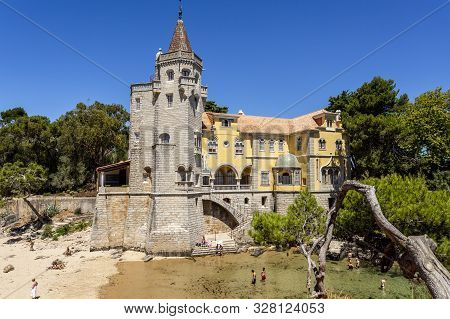 Cascais - August 14, 2019: Detail Of The Tower Of Sao Sebastiao Situated By A Little Cove On The Atl