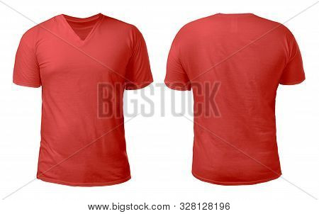 Red V-neck T-shirt Mock Up, Front And Back View, Isolated. Male Model Wear Plain Red Shirt Mockup. V