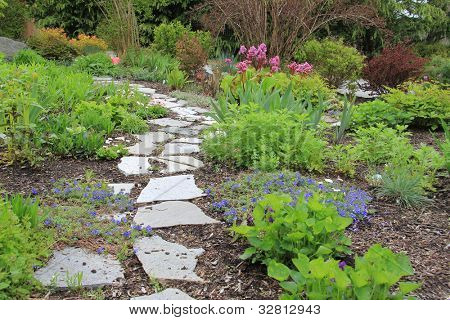Beautiful paved stone walkway in a spring garden. poster