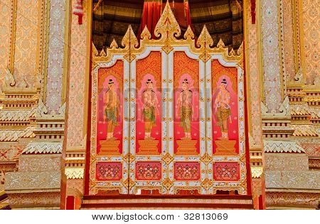 The Door Thai style painting art at the Royal Cremation Ceremony of Prince Bejaratana Rajasuda poster