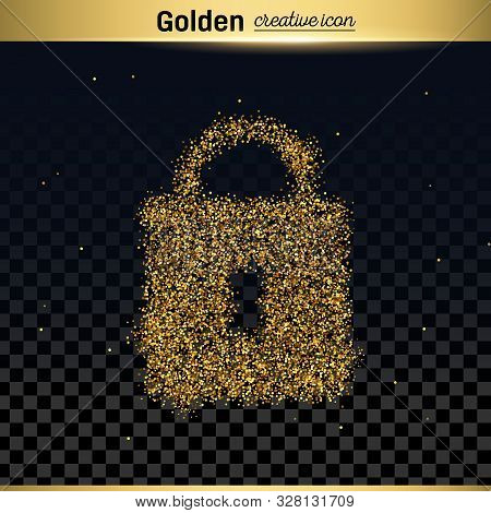 Gold Glitter Vector Icon Of Padlock Isolated On Background. Art Creative Concept Illustration For We