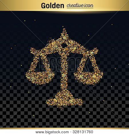 Gold Glitter Vector Icon Of Scales Isolated On Background. Art Creative Concept Illustration For Web