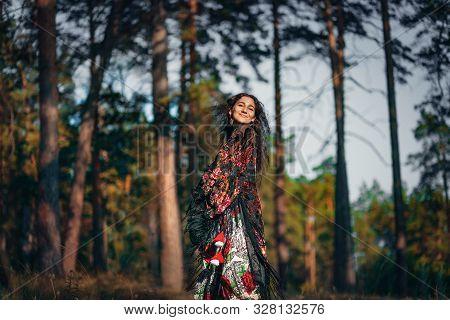 Beautiful Young Cheerful Gypsy Woman Having Fun Outdoors At Sunset