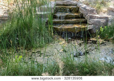 Small Waterfall At A Desert Spring With Stone And Grass