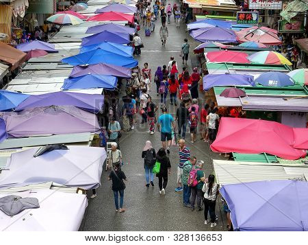 Hong Kong, China- October, 2, 2017: Close Overhead View Of Mongkok Markets In Hong Kong