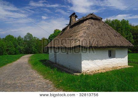 Rural scenic view with antient wooden house, Pirogovo, Kiev, Ukrain