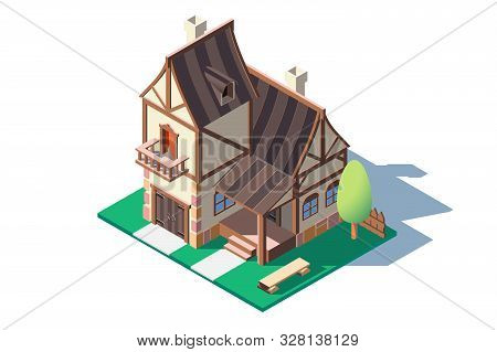 3d Isometric Large Classic Village House With Green Tree. Concept Isolated Countryside Buildings Wit