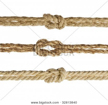 Ropes with knot close up, Isolated on white background