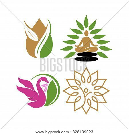 Nature Spa Logo Design Icon Vector Template Set