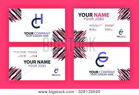 Letter Ch And Cg Of Business Cards And Logos In Packs. Modern Flat Design Concept For Landing Page W