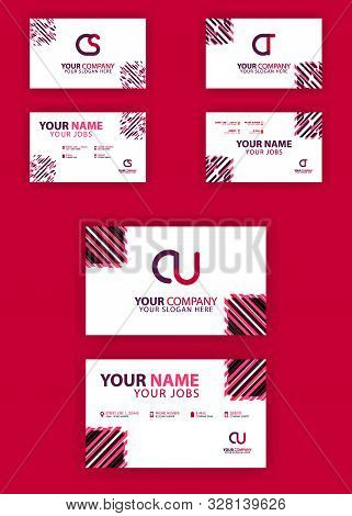 Letter Cs, Ct, Cu Of Business Cards And Logos In Packs. Modern Flat Design Concept For Landing Page