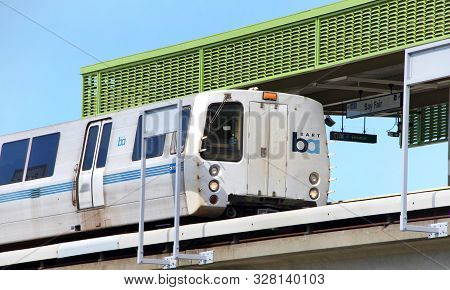 San Leandro, Ca - Oct 06, 2019: The San Francisco Bay Area Rapid Transit Train, Referred To As Bart