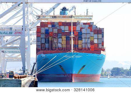 Oakland, Ca - Oct 7, 2019: Cargo Ship Gerner Maersk Unloading At The Port Of Oakland. Maersk Has Bee