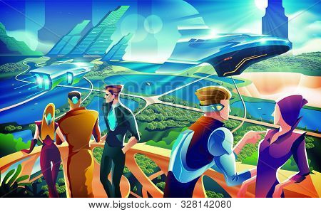 An Imagery Illustration Of A Futuristic Scenery With A Group Of People Are Hanging Out On Terrace. A