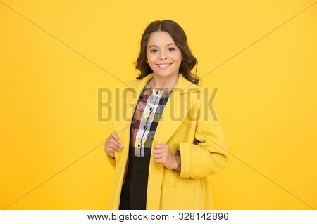 Yellow Mood. Girl Fashionable Cute Model Wear Yellow Wool Coat. Personal Styling And Bespoke Tailori