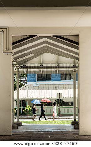 Singapore-17 Oct 2017: Singapore Hdb Floor Ground Level Walking Corridor