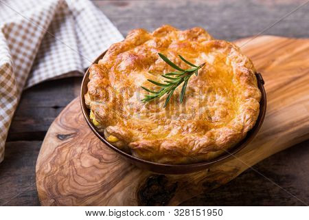 Pot Pie. Individual Chicken Pot Pie With Puff Pastry Crust. Top View