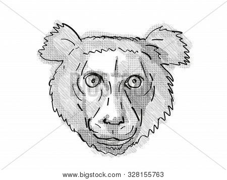 Retro Cartoon Style Drawing Of Head Of An Indri, A Large Species Of Lemur Found In Madagascar And An