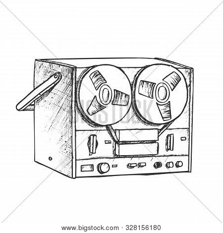 Classic Reel Player For Listening Music Ink Vector. Antique Audio Sound Speaker. Electronic Media Sy