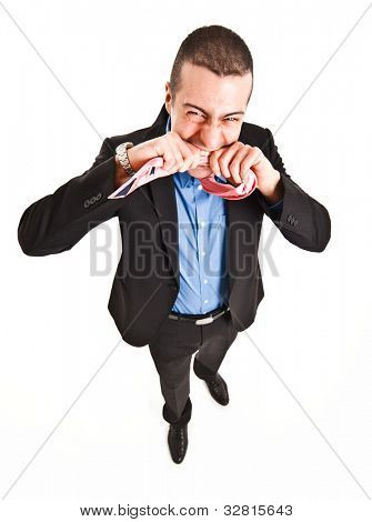 Portrait of a rabid man eating his tie