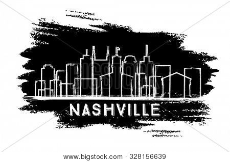 Nashville Tennessee City Skyline Silhouette. Hand Drawn Sketch. Business Travel and Tourism Concept with Historic Architecture. Nashville Cityscape with Landmarks.