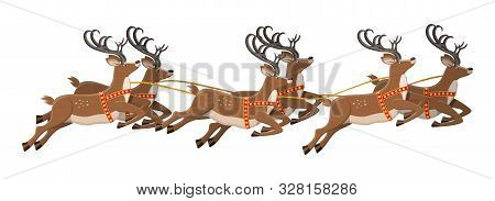 Cute Jumping Deer With Antlers. Herd Of Reindeers. Happy New Year Decoration. Merry Christmas Holida