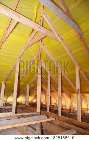 Roofing Construction Interior. Wooden Roof Beams, Wooden Frame, Rafters, Trusses,  House Attic Const
