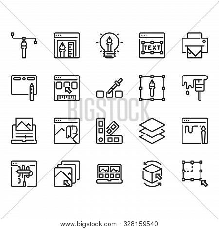 Graphic Design In Simple Outline Icon Set