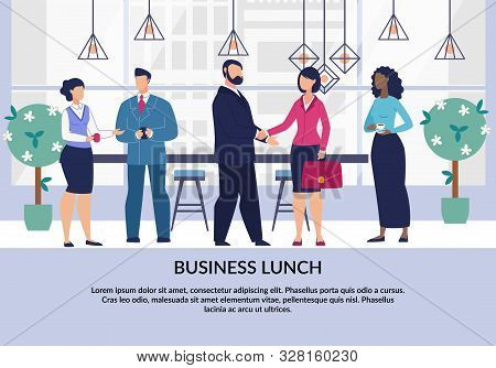 Corporate Ethics And Spirit Promotion Flat Poster. Common Joint Team Business Lunch Motivation. Cart