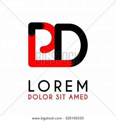 Initial Letter Pd With Red Black And Has Rounded Corners