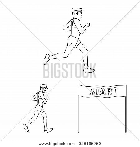 Vector Design Of Exercise And Sprinter Logo. Set Of Exercise And Marathon Stock Symbol For Web.