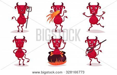 Red Cartoon Angry Horned Devil. Vector Illustration.